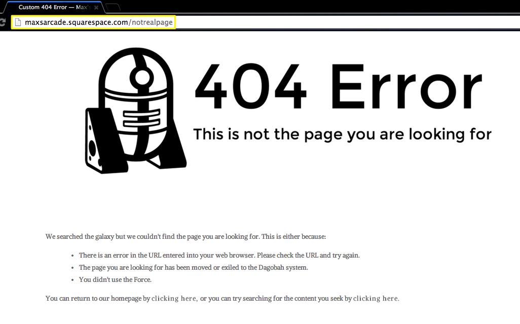 Squarespace Help - Creating a custom 404 error page