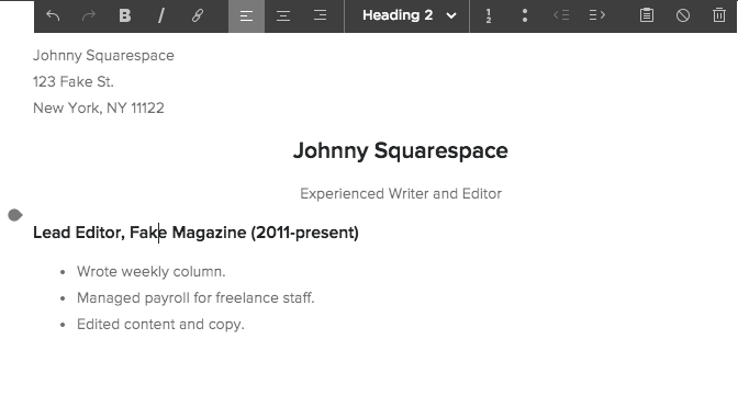 squarespace help displaying your resume on your site
