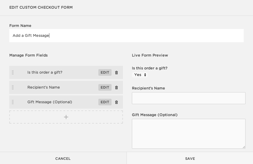 creating a custom checkout form squarespace help