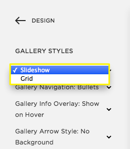 choose a gallery style