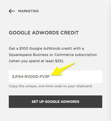 Squarespace help redeeming your google adwords credit copy your unique google adwords code fandeluxe Image collections
