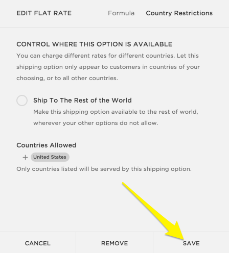 Squarespace help setting up shipping rates step 6 save pronofoot35fo Choice Image