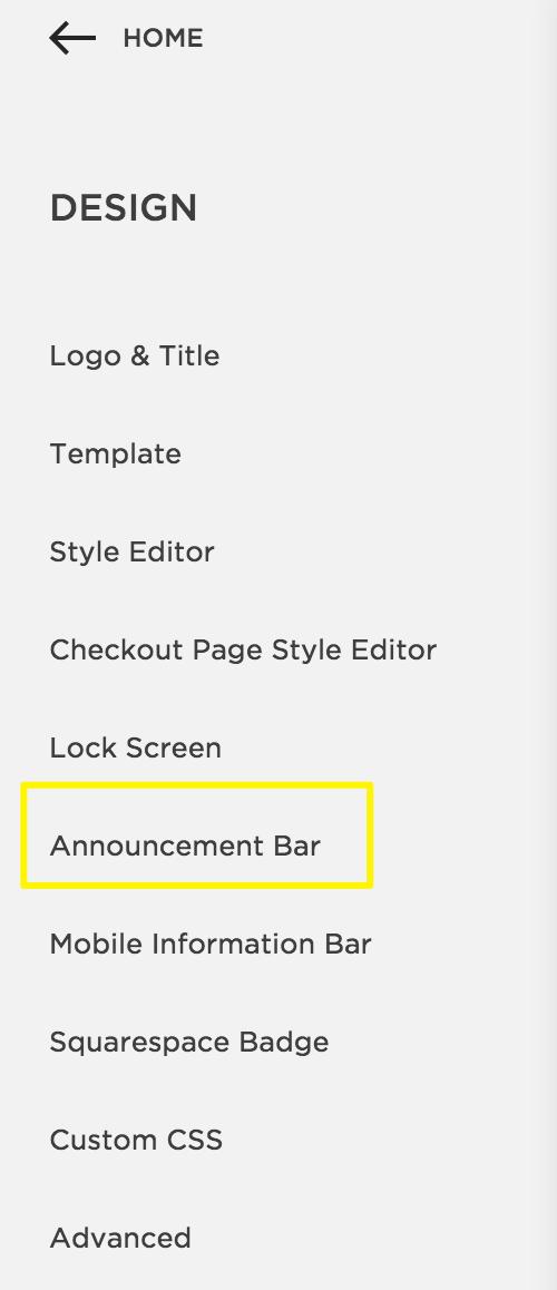 Adding an Announcement Bar – Squarespace Help