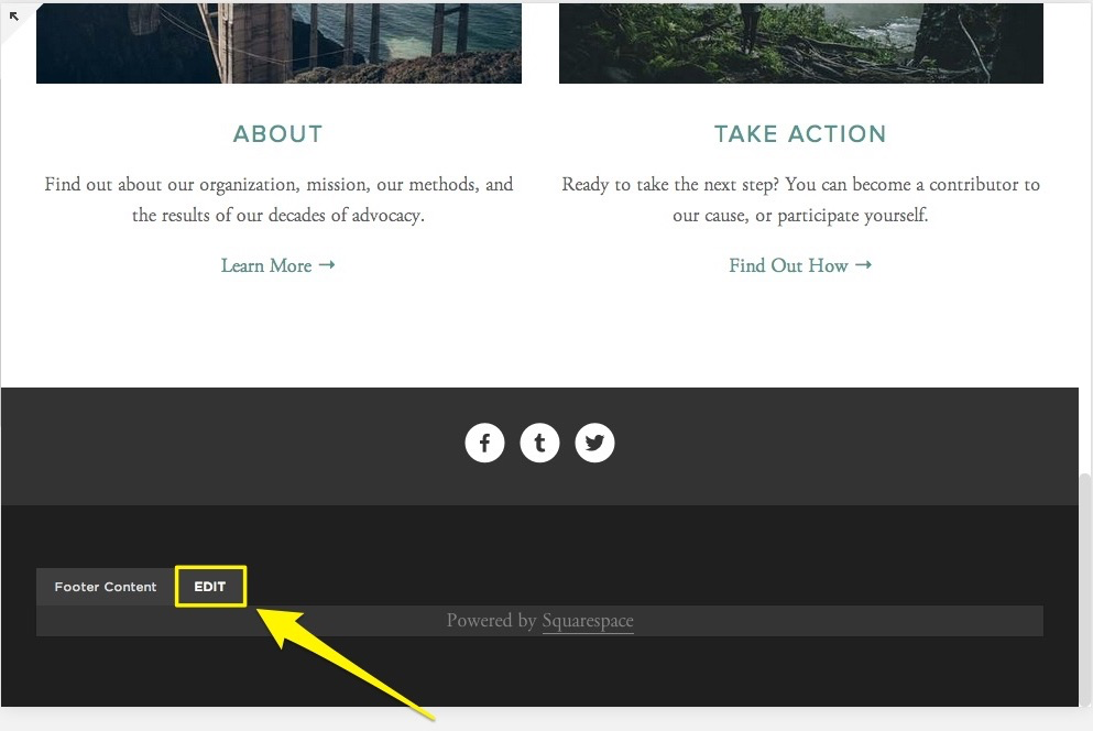 Removing powered by squarespace from your site squarespace help remove the text block most template s fbccfo Gallery