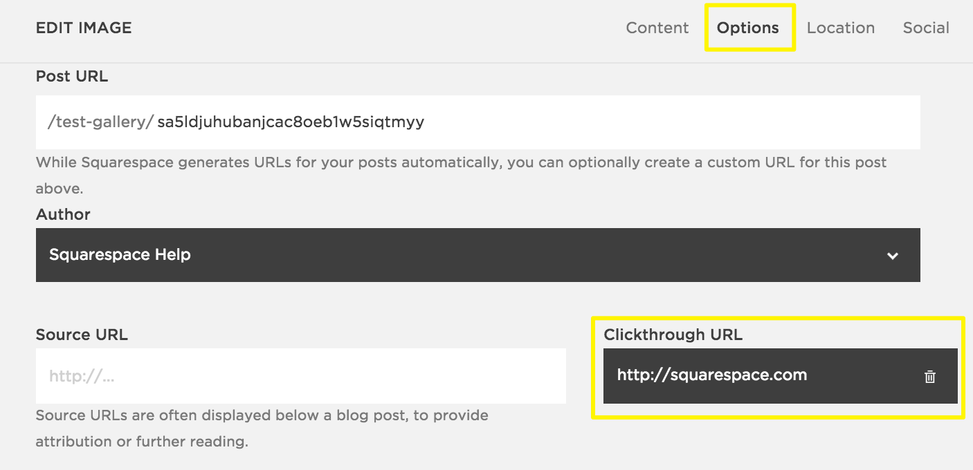Using image clickthrough URLs – Squarespace Help