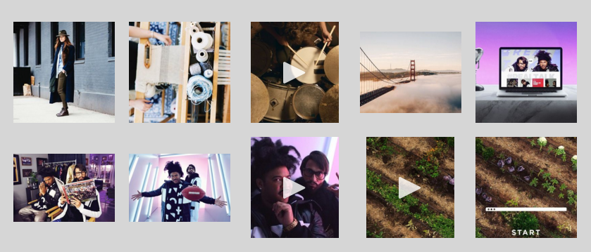 Example of a Instagram Block with a grid design.