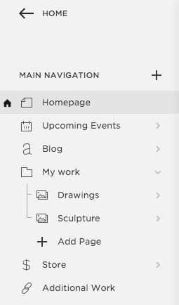 each line displays a page s title and an icon representing its page type a house icon appears to the left of your homepage click the icon at the top to