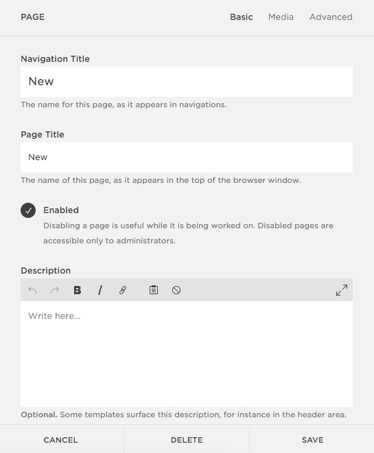 Squarespace Help - Page Settings