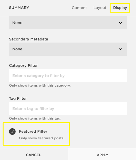 step 4 display featured posts in the summary block optional