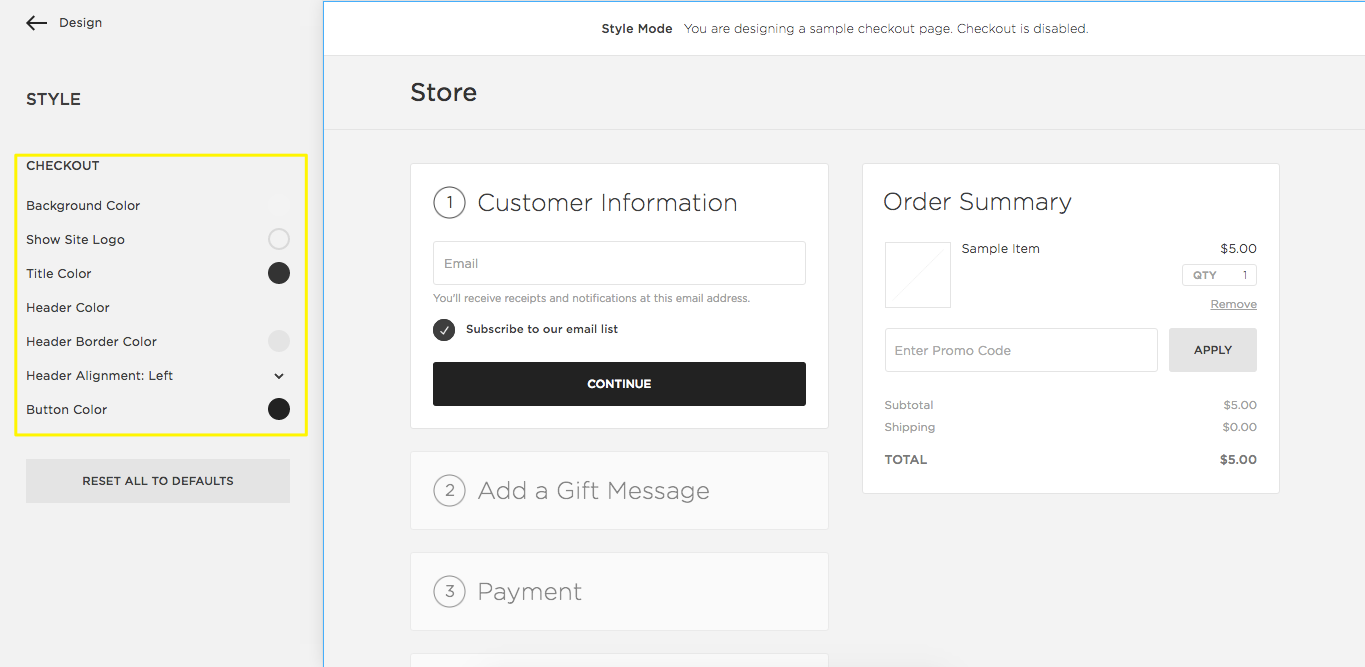 squarespace help using the checkout style editor
